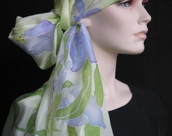 Hand painted silk scarf  IRIS
