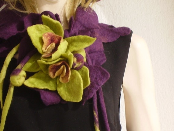Aubergine  Felted Scarf with Olive Green Orchids  Bouquet