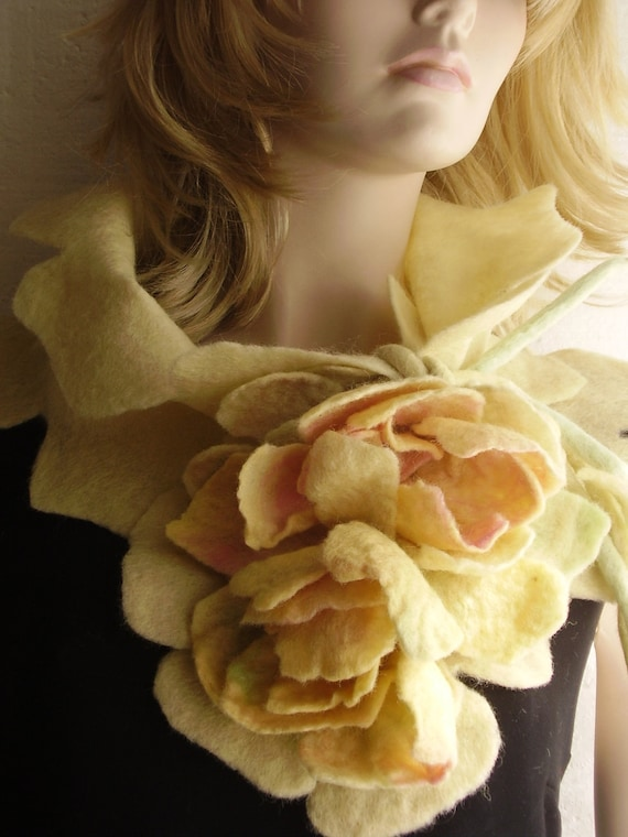 Romantic Pearl Yellow  Felted Scarf with Flowers Bouquet