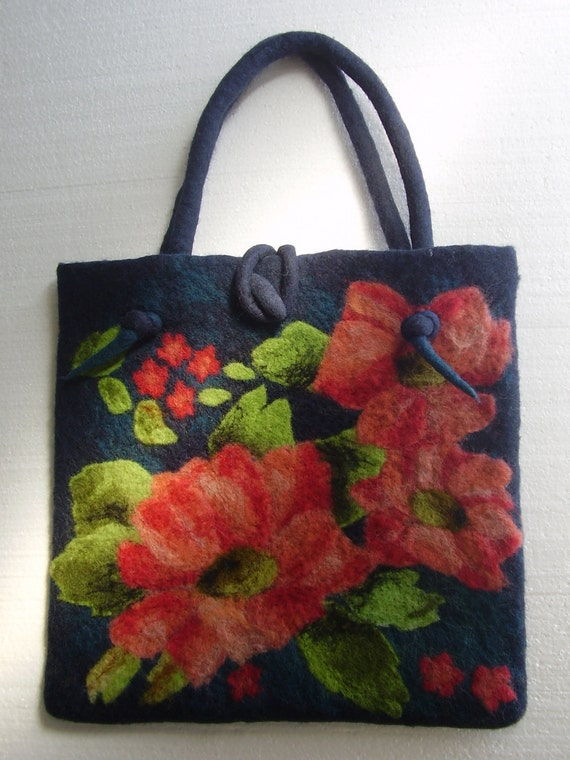Romantic Dark Blue Wool ART Felted Bag with Big Attractive Coral Flowers Bouquet OOAK
