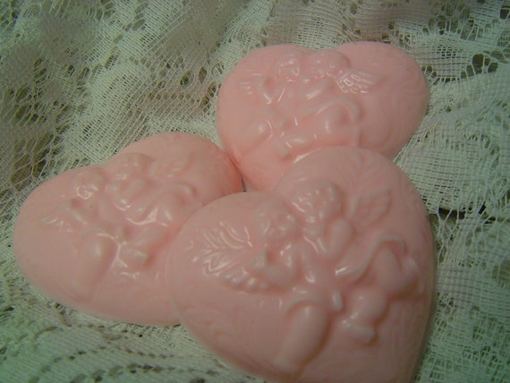 Heart Soaps, 2 cherub angel SOAPS, Victorian Soaps, Wedding Shower Soap Favors, handmade glycerin soap gift set