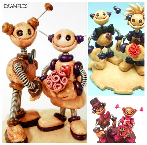 Rustic Robot Wedding Cake Topper MADE TO ORDER Robot Bride and Groom 5 inch - Clay and Wire