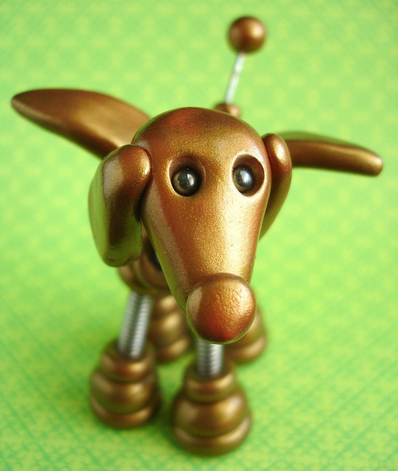 Golden Gino Angel Dog Robot Sculpture Hanging Ornament - Clay, Paint, Wire