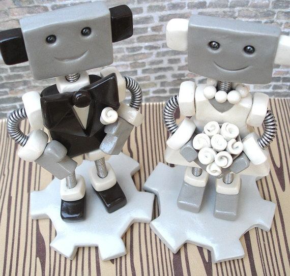 Robot Wedding Cake Topper - Groom Brown Suit, Bride in White - Ready to Ship - Clay, Paint, Wire