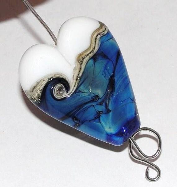 Blue Opal Heart - Handmade Lampwork Glass Beads