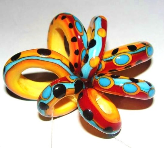 Fiesta Freeform Links - Handmade Lampwork Glass Beads