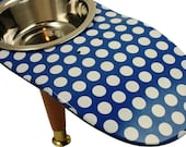 Valentine - Raised Pet Feeder - Blue - Painted Skate Deck - Gift For Pet Lover - Dog - Cat - Gift Ideas - Blue Polka Dot Skate Pet Feeder