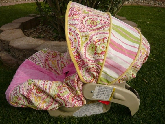 last one watermelon paisley infant car seat cover moves to. Black Bedroom Furniture Sets. Home Design Ideas