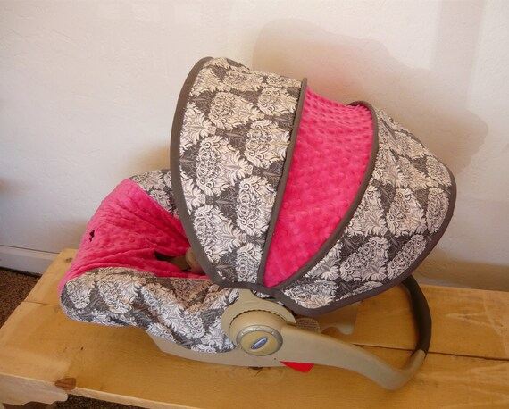 Gray Anthology Damask with Hot Pink Infant Car Seat Cover