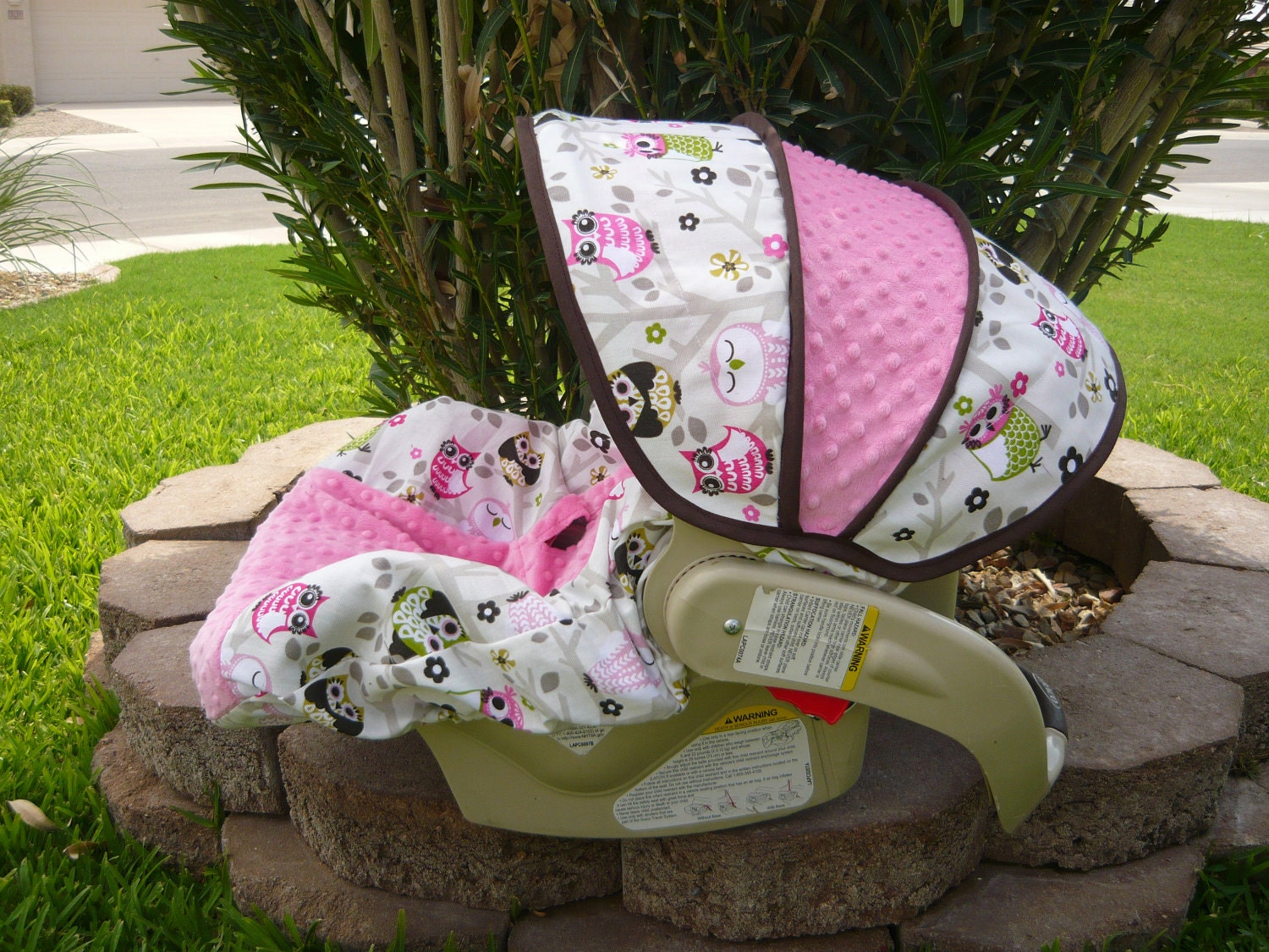 owls in tree with bubble gum infant car seat cover. Black Bedroom Furniture Sets. Home Design Ideas
