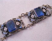 RESERVED for Catherine 1920s Czech Blue Glass Enamel Bracelet SALE