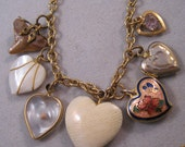 Vintage Heart Charm Necklace Ivory Locket Mustard Seed Shark Tooth Cloisonne MOP FREE SHIPPING