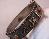 Antique Middle Eastern Bangle Bracelet Sterling Silver Gold and Red Coral 36 grams