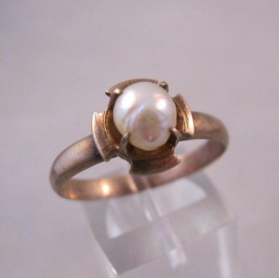 Vintage 10K Pearl Ring Rose Gold Maltese Cross Size 11 SALE