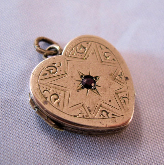 RESERVED thru 4/19/12 Edwardian Heart Locket Rose Gold Filled with Garnet and Old Photos 1900s
