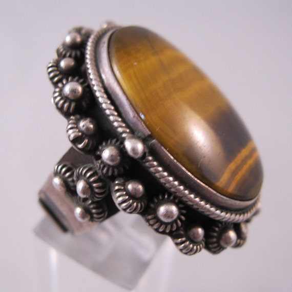 1950s Taxco Tiger Eye Poison Ring Sterling Silver Signed Adjustable Unisex Mexican