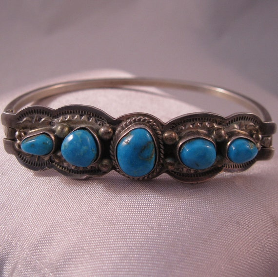 1970s Turquoise Sterling Bangle Bracelet Native American Signed