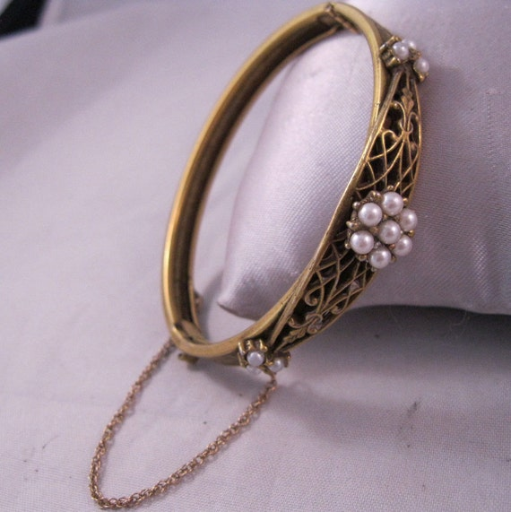 Edwardian Faux Pearl Gold Plated Bangle Bracelet Open Work Hinged