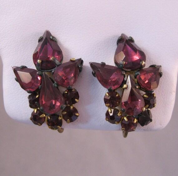 1930s Czech Amethyst Earrings Signed Screwback SALE