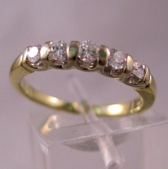 Vintage 14K Diamond .2 Carat Anniversary Ring Wedding Engagement 5 Stone Size 6 SALE