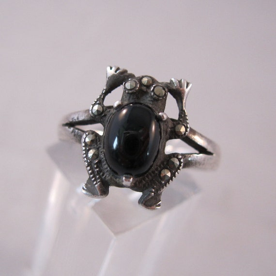 Marcasite Onyx Sterling Frog Ring Size 9