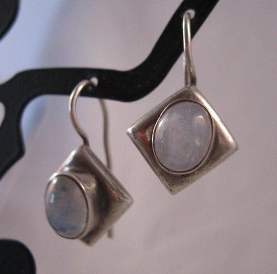 1980s Moonstone Sterling Earrings