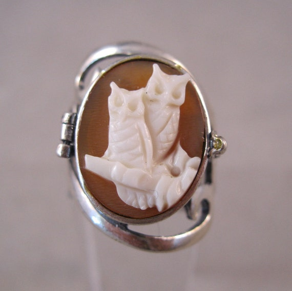 Owls Cameo Ring Locket Poison Sterling Silver Signed Size 6
