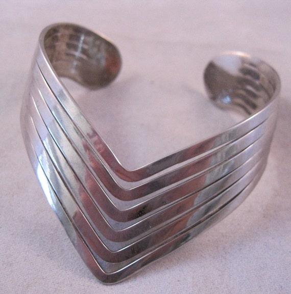 Sterling Mid Century Modern Cuff Bracelet 1950s 26g