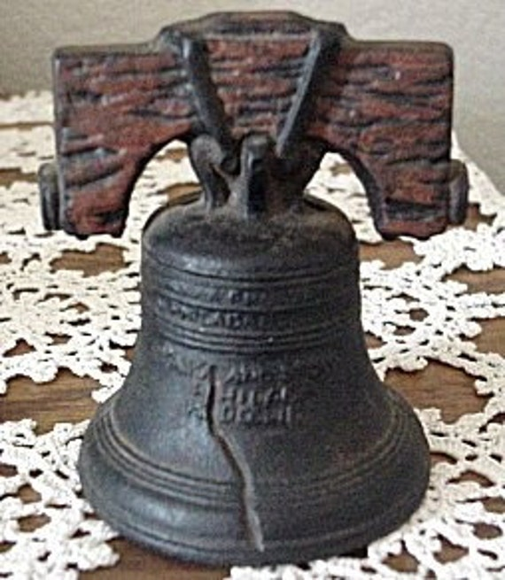 Antique Bank Liberty Bell Vintage Cast Iron Still with paint