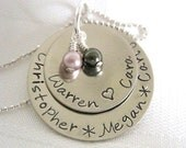 Sterling Silver Mother or Grandmother's keepsake charm pendant necklace