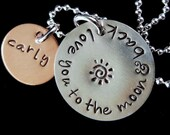 Hand Stamped Necklace, Mommy Jewelry, Love you to the moon, Grandma Necklace, Personalized