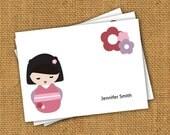 Printable and Customizable Kawaii Kokeshi Doll Personal Notecards