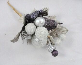 Set of 5 Glittery silver and purple picks