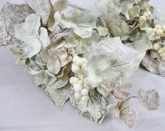 2 Creamy Green Frosted Hydrangea picks