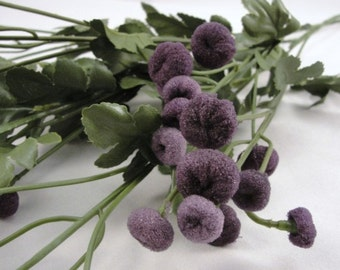 Dark purple button flower stem set of 2