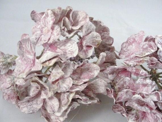 3 Purple Mauve Hydrangea Blooms