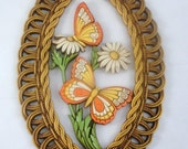 Vintage Butterflies and Daisies wall hanging 1978 Dart Industries