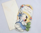 Vintage Happy Easter daughter card Gibson cute Bunny Rabbit