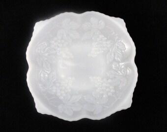 Vintage Milk glass Anchor Hocking Square Grape Pattern Bowls set of 2