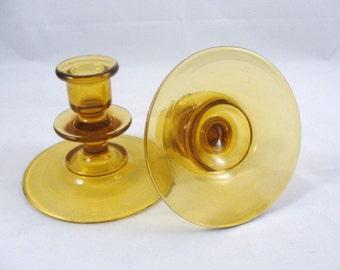 Vintage Candlestick Dugan Diamond pair Amber, vintage candle holder, vintage amber glass