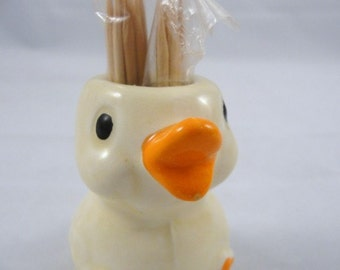 Vintage Enesco toothpick holder Duck or Chick, duck toothpick holder, chick toothpick holder