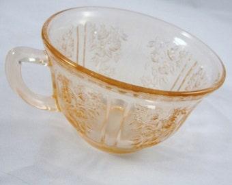 Vintage Antique Sharon Cabbage Rose Teacup, depression glass tea cup