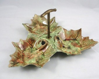Vintage Leaf Dish California Pottery Jamieson Capistrano, candy and nut bowl, fall leaf dish
