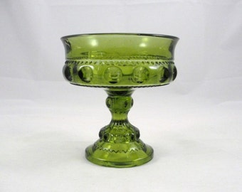 Vintage King's Crown Indiana Glass Compote Olive Green, green glass, vintage compote