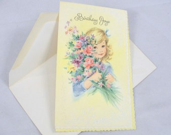 Vintage unused Greeting card Birthday Joys