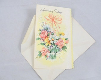 Vintage unused greeting card Happy Anniversary Greetings