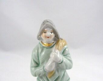 Vintage Occupied Japan peasant figurine, Vintage Occupied Japan figurine peasant with sack over shoulder