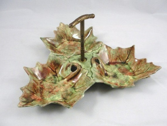 Vintage Leaf Dish California Pottery Jamieson Capistrano, candy and nut bowl, fall leaf dish