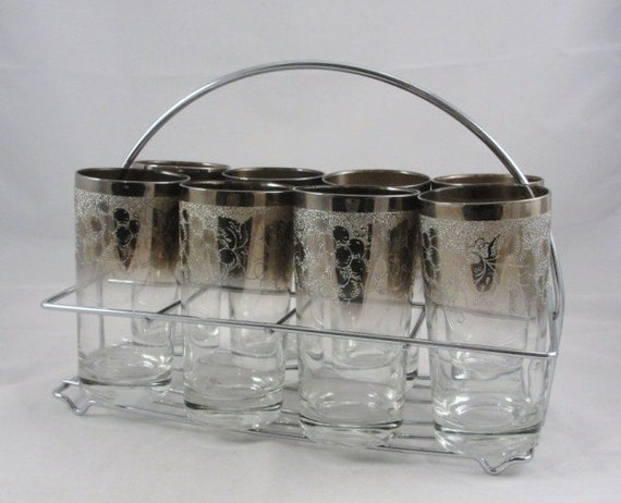 Vintage Tumblers Silver grape with caddy set of 8