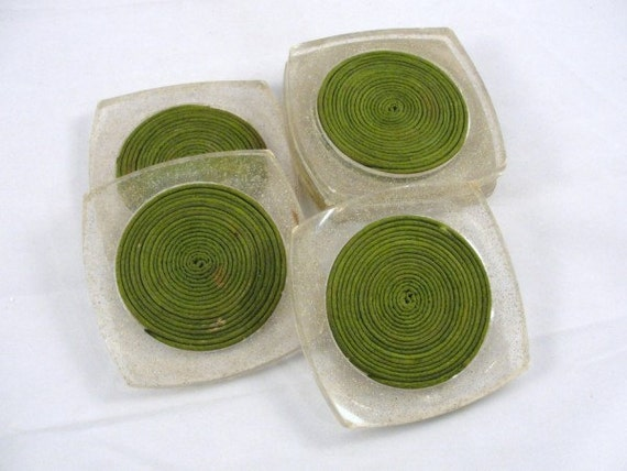 Vintage acrylic lucite coasters glitter sparkle olive green set of 6